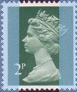 1982 GB - SGX849 (U80t) 2p Green 2B 9.5mm (H) from PB DX3 MNH